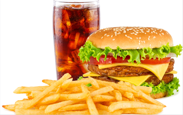 double cheesesburger with french fries and cola.