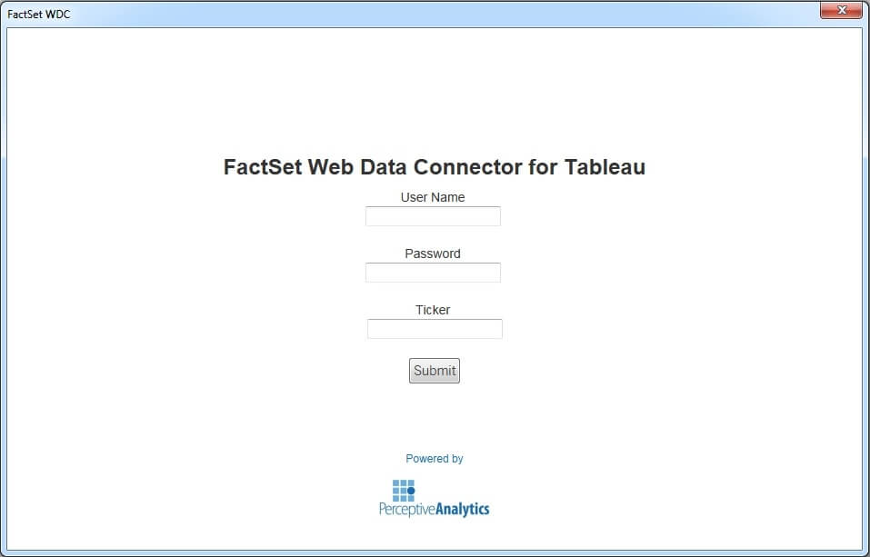 Tableau Web Data Connector for FACTSET